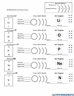 Ficha interactiva Quiz on The Periodic Table and Bohr Models-2