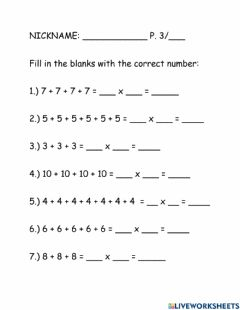 Interactive worksheet Multiplication with repeated addition
