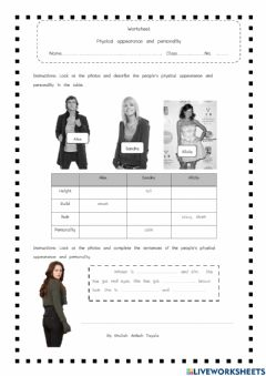 Interactive worksheet Appearance and personality