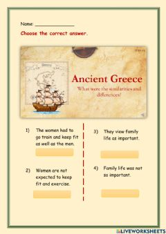 Interactive worksheet Ancient Greece family and city life
