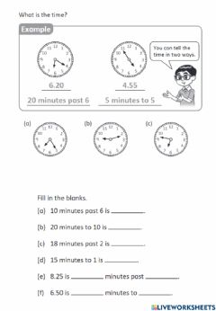 Ficha interactiva Tell time past or to