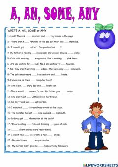 Interactive worksheet Quantifier a-an-some-any