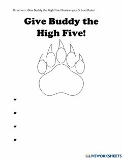 Interactive worksheet Give Buddy the High Five!
