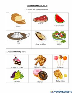 Interactive worksheet Different Types of Food