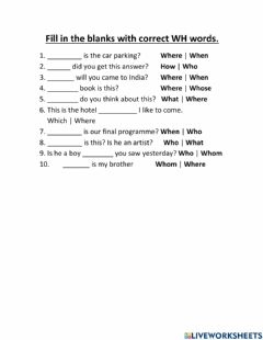 Ficha interactiva Fill in the blanks with correct Wh words