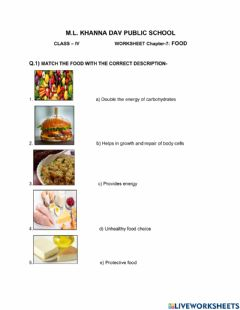 Ficha interactiva Food and nutrients