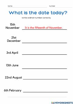 Interactive worksheet Date and Month