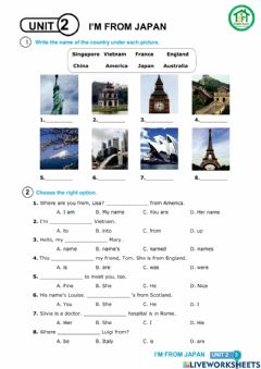 Interactive worksheet G4-U2-Country and nationality