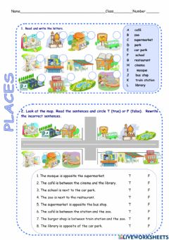 Interactive worksheet Places in town direction