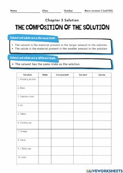 Ficha interactiva The composition of the solution