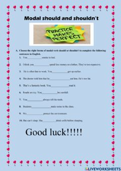 Interactive worksheet The use of should in present tense