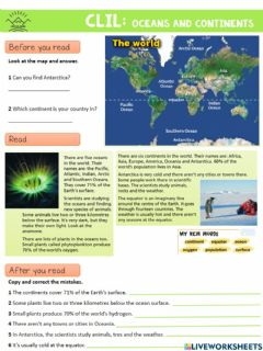 Ficha interactiva CLIL: Oceans and continents