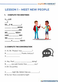 Interactive worksheet Lesson 1 - Meet new people