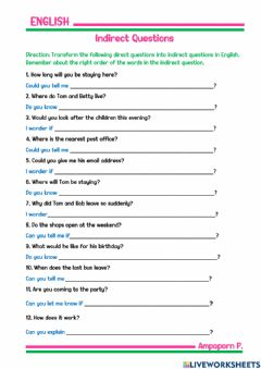 Interactive worksheet Review: Indirect Questions
