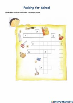 Interactive worksheet Packing for School
