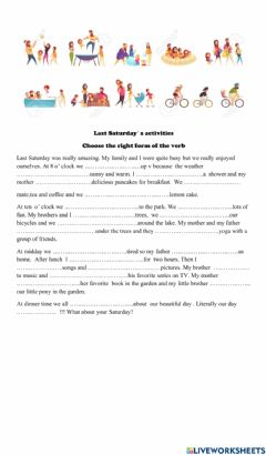 Interactive worksheet Daily Activities and their past forms