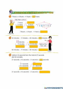 Ficha interactiva Addition and subtraction of time
