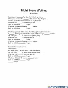 Ficha interactiva Song: Right here waiting