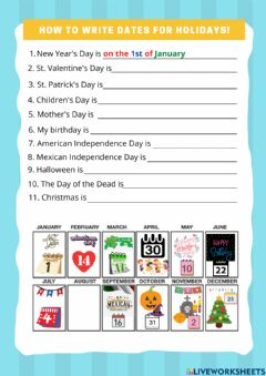Interactive worksheet Dates for holidays