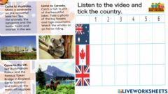 Ficha interactiva Worksheet for super minds pg 112 unit 9 at the beach listen and tick the country drag and drop the tick semakan kssr cefr
