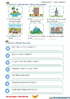Interactive worksheet G5-Unit 1: What's your address?