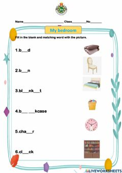 Interactive worksheet My bed