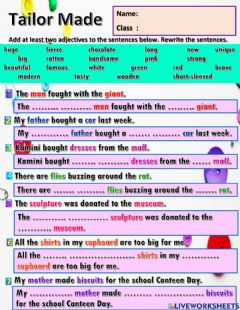 Interactive worksheet Year 6 Unit 11 Tailor Made
