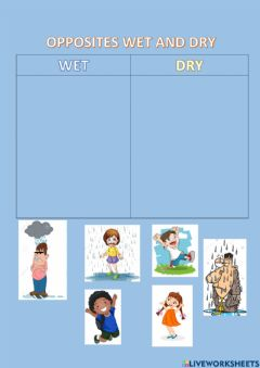 Interactive worksheet Wet and dry