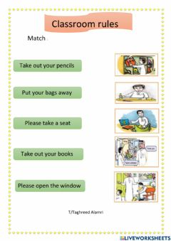Interactive worksheet Classroom rules