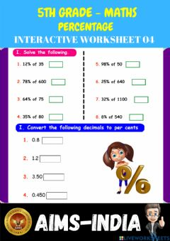 Interactive worksheet 5th-maths-ps04- percentage - ch 08