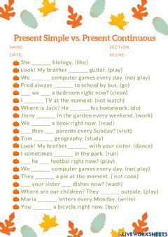 Interactive worksheet Present Simple vs. Present Continuous