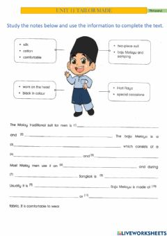 Interactive worksheet Year 6- Unit 11 Tailor Made (Information transfer)