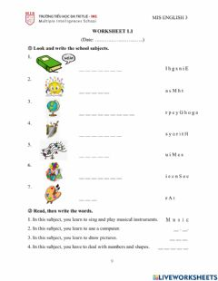 Interactive worksheet Sm3 - unit 1: our school