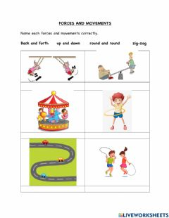 Interactive worksheet Force and Movements