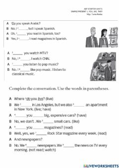 Interactive worksheet Simple present tense: I, you, we they