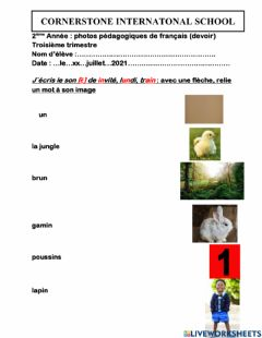 Interactive worksheet French work for Grade two