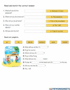 Interactive worksheet Tieng Anh 5 unit 5 Lesson 3 match