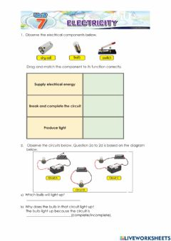 Interactive worksheet Electricity Year 2
