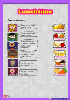 Interactive worksheet Lunchtime year 1