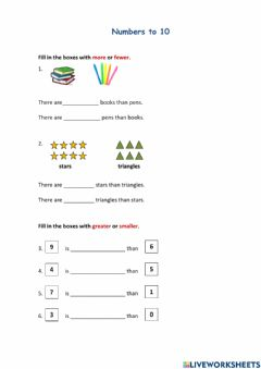 Interactive worksheet Numbers to10