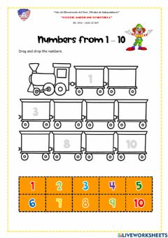 Interactive worksheet Learning activity-Numbers 1 - 10