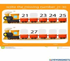 Interactive worksheet Numbers to 30