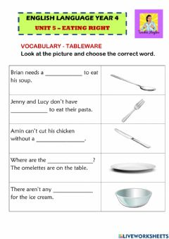 Interactive worksheet Unit 5 Eating Right (Tableware)