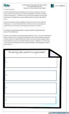 Interactive worksheet Pros and Cons