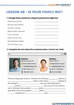 Ficha interactiva Possessive adjective and questions be