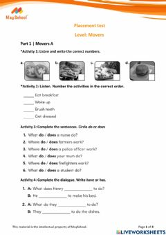 Interactive worksheet MS Placement test - Movers