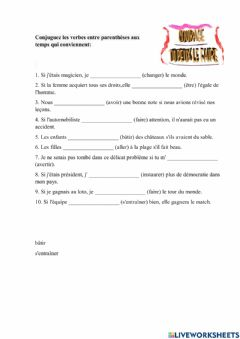 Interactive worksheet Si Conditionnel