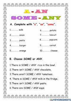 Interactive worksheet A-an-some-any