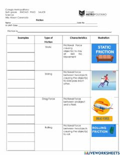 Interactive worksheet Types of Friction