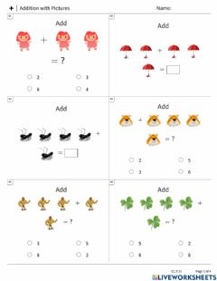 Interactive worksheet Maths Addition with Pictures